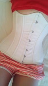 white cotton waist training corset diary
